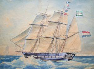 Het schip Johanna Maria Christina op weg naar Batavia